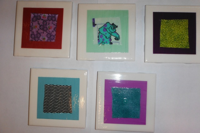 Paper and Fabric Tile Coasters