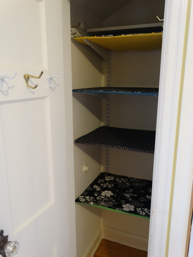 Fabric covered shelves 1