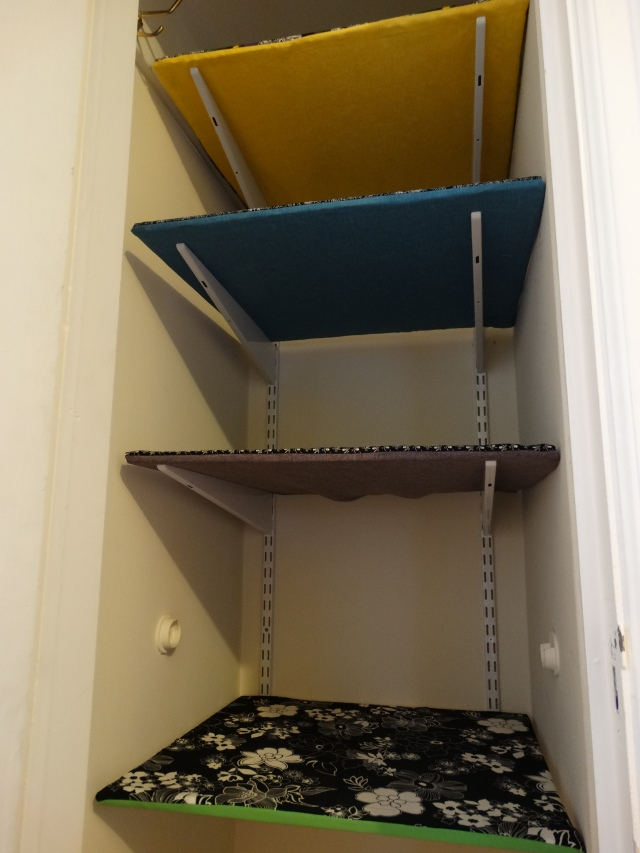 Fabric covered shelves 2